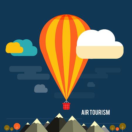 Hete luchtballon die over de berg Iconen van reizen, het plannen van een zomervakantie, toerisme en reizen objecten