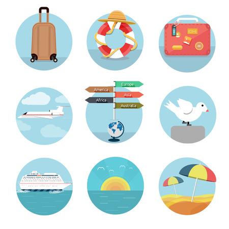 business travel: Icons Set von Reisen, planen einen Sommerurlaub, Tourismus und Reise Objekte und Passagiergep�ck in flaches Design Verschiedene Arten von Reisen Gesch�ftsreisen Konzept