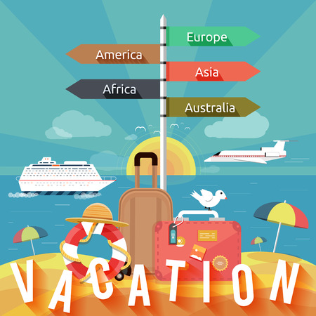 Icons set of traveling, planning a summer vacation, tourism and journey objects and passenger luggage in flat design  Different types of travel  Business travel concept Vector