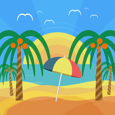 Tropical beach with palm trees and umbrella. Planning a summer vacation, tourism and journey Vector