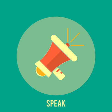 Icon of megaphone. Speak concept in retro style Vector