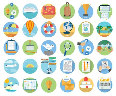 business travel: Icons Set von Reisen, planen einen Sommerurlaub, Tourismus und Reise Objekte und Passagiergep�ck in flacher Bauform. Verschiedene Arten von Reisen. Gesch�ftsreisen Konzept Illustration