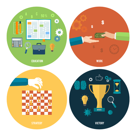 Icons for education, work, strategy, victory and business tools. Concept of different icons in flat design Vector