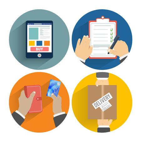 Set van handen klanten inkoop. Orde van de goederen online, betaling en levering. Business concept Stock Illustratie