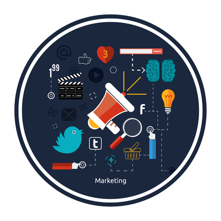 Icons for marketing. Digital marketing concept. Flat design stylish megaphone with application icons Vector