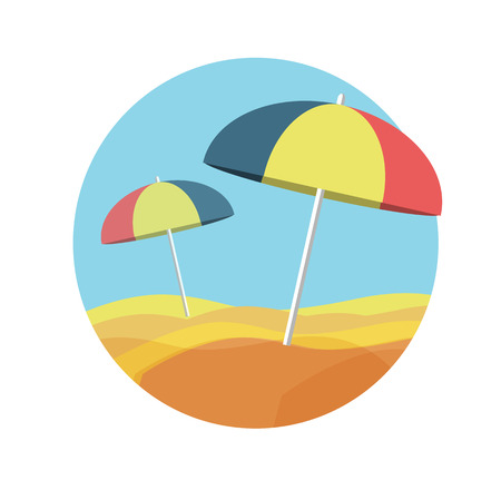 deserted: Beach umbrellas on a deserted beach icon Illustration