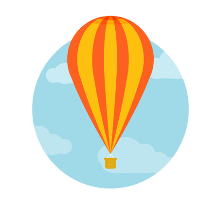 Hot air balloon flying. Icons of traveling, planning a summer vacation, tourism and journey objects Vector