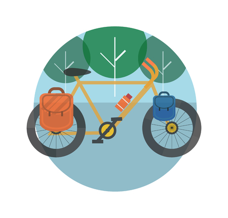 Bicycle near the trees. Bicycle tourism. Icons of traveling, planning a summer vacation, tourism and journey objects Vector