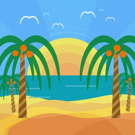 Tropical beach with palm trees. Planning a summer vacation, tourism and journey Vector