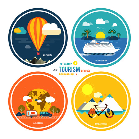 Icons set of traveling, planning a summer vacation, tourism and journey objects and passenger luggage in flat design. Different types of travel. Business travel concept Vector