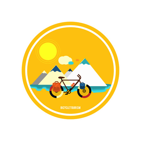 Bicycle near the mountain. Bicycle tourism. Icons of traveling, planning a summer vacation, tourism and journey objects Vector