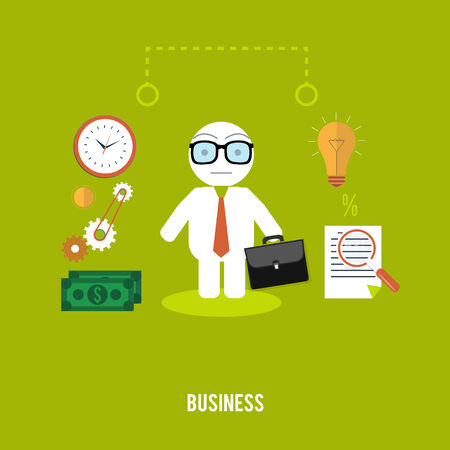 Businessmen with cases go on a meeting. Business concept in flat design Vector