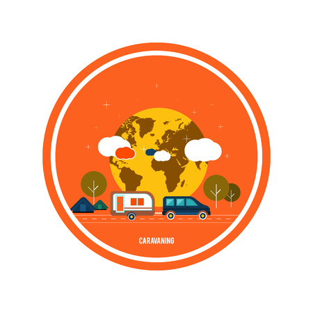 caravans: Caravaning near the tree. Caravaning tourism. Icons of traveling, planning a summer vacation, tourism and journey objects Illustration