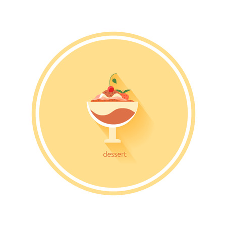 coffee jelly: Dessert icon with shadow in flat design
