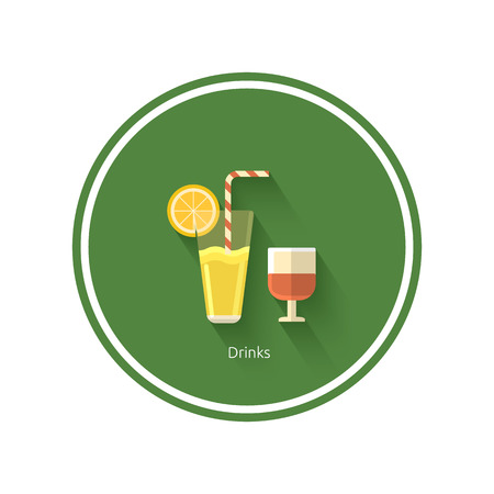 Drinks icon with shadow in flat design Vector