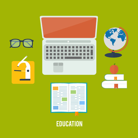 laptop: Books and laptop in flat design. Education concept