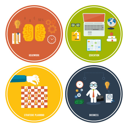 Icons for education, headwork, strategy planning, business tools. Concept of different icons in flat design Vector