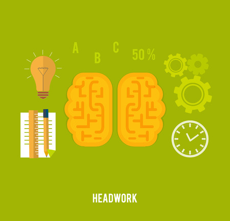 Headwork concept with education icons in flat design Vector
