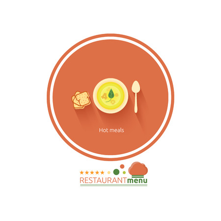 Restaurant menu in flat design. Set of food menu icons hot meals, dessert, salads and drinks Vector