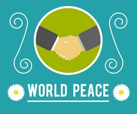 World peace concept. Handshake between people Vector