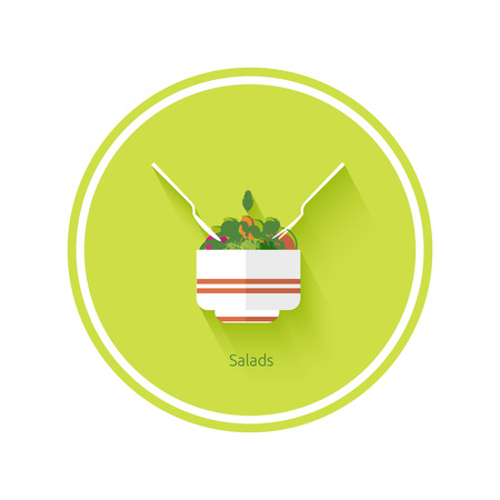 Salad icon with shadow in flat design Vector