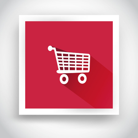 Icon of shopping cart for web and mobile applications. Flat design with long shadow Vector