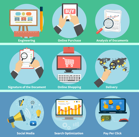 search optimization: Set for web and mobile applications of online purchase, engineering, social media, seo search optimization, pay per click, analysis of documents, signature of the document, online shopping, delivery concepts items icons in flat design