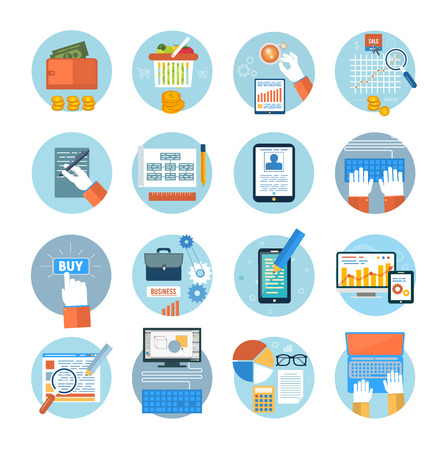 search optimization: Business, office and marketing items icons. Set for web and mobile applications of online purchase, engineering, social media, seo search optimization, pay per click, analysis of documents, online shopping concepts items icons in flat design