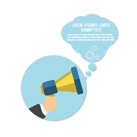 Hand holding a yellow megaphone with bubble on white background. Business concept of marketing in flat design Vector