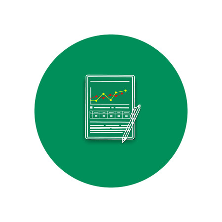 analyzing: Line icon of pen and chart. Business concept of analyzing. Office and business work elements