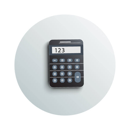 calculator: Detailed modern app icon of calculator business concept on white background. Office and business work elements