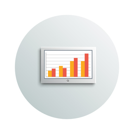 Detailed modern app icon of led tv hanging monitor with chart on the wall business concept on white background. Office and business work elements Vector