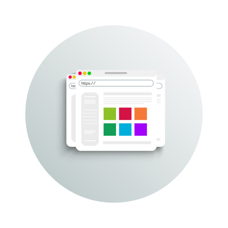 browser business: Modern app icon of browser business concept on white background. Office and business work elements