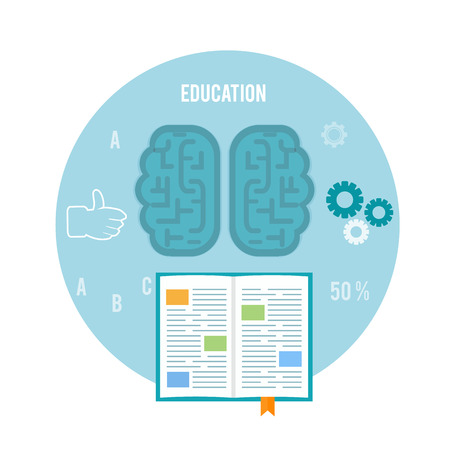 Book with brain. Education concept in flat design Vector