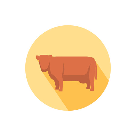 Cow icon with shadow in flat design Vector