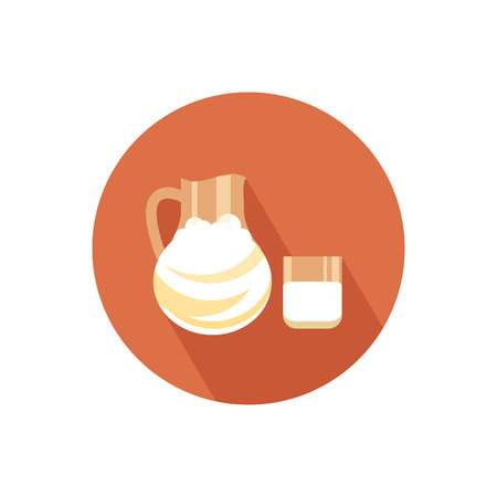 Milk icon with shadow in flat design Vector