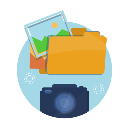Icon of folder with pictures, camera at flat design Vector
