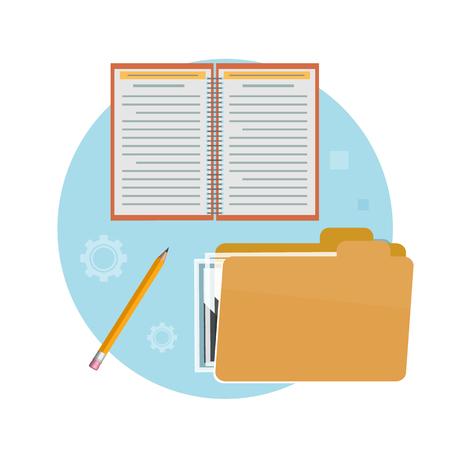 pensil: Folder, notebook and pencil. Business concept for office workers Illustration