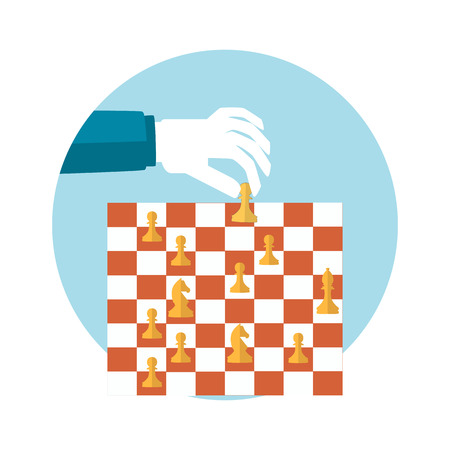 strategic position: Strategy planning concept. Man playing chess and try to find strategic position. Flat design.