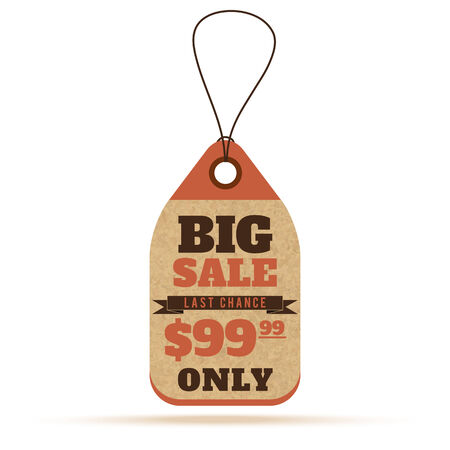 99: Price tags in vintage style. Big sale tags, labels with text and number percent Illustration
