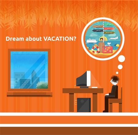 Icons set of traveling, planning a summer vacation, tourism and journey objects and passenger luggage in flat design. Different types of travel. Business travel concept. Dream about vacation Vector