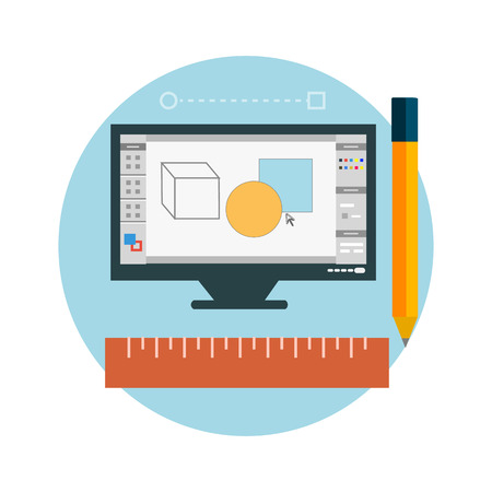 architectural team: Computer monitor with the screen of the program for design and architecture in flat design. Web design concept Illustration
