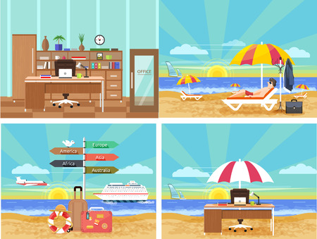 Icons set of traveling, planning a summer vacation, tourism and journey objects and passenger luggage in flat design. Different types of travel. Business travel concept. From office in vacation. Office on a beach