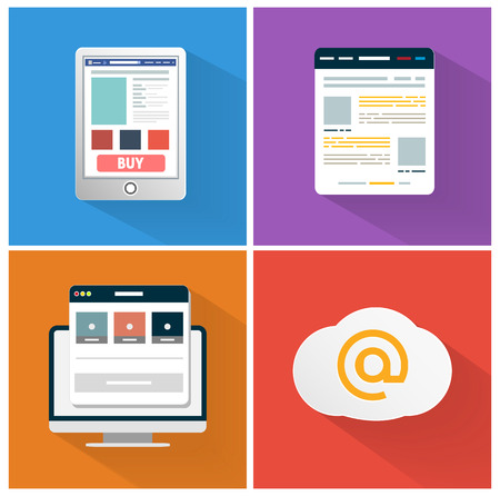 browser business: Modern app icon of browser business concept in flat design. Office and business work elements. Set for web and mobile applications of smartphone, browser, internet cloud