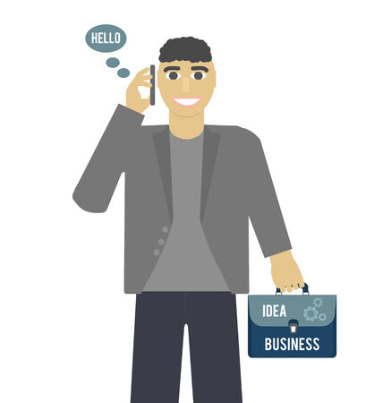 Business idea concept. Businessman standing talking on the phone and holding a briefcase in hand in flat design Vector