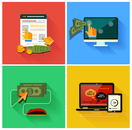 Pay per click internet advertising model when the ad is clicked. Set for web and mobile applications in modern flat design