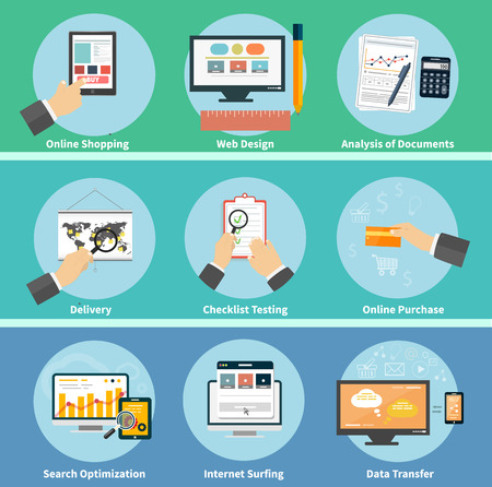 search optimization: Set for web and mobile applications of online purchase, web design, checklist testing, seo search optimization, internet surfing, analysis of documents, data transfer, online shopping, delivery concepts items icons in flat design