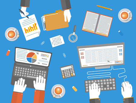 Teamwork business concept in flat design. Business, office and marketing items icons. Hands of team workers with office item icons such as laptop, documents folder, computer, calculator, cup of tea and notebook on table Vector