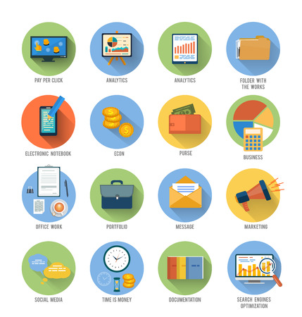 search optimization: Set for web and mobile applications of office work, social media, seo search optimization, pay per click, analysis of documents, purse, time is money, marketing concepts items icons in flat design