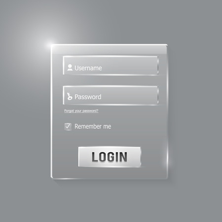 Login and register web glossy form. Modern glossy web card login form Illustration
